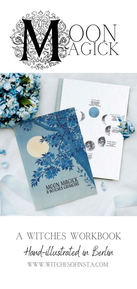 This beautiful grimoire features 20 hand-designed pages and covers all of the moon magick basics. Included in the grimoire are beautifully illustrated graphics detailing the moon's phases, moon correspondences, instructions for working with moon magick, and spell sheets for your own personalised spells and rituals. #moonmagic #witchtips #beginnerwitch
