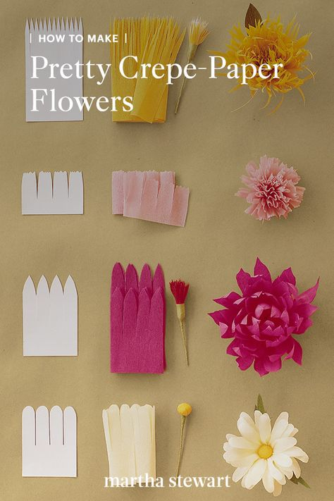 Learn how to make crepe paper flowers for your wedding bouquet or as fall decor with our crepe paper flower tutorials. Follow our directions for specific flowers like peonies, tulips, carnations, and more with our downloadable diagrams.  #marthastewart #crafts #diyideas #easycrafts  #tutorials #hobby Paper Flower Tutorial, Paper Flowers Diy, Flower Crafts, How To Make Paper Flowers, Easy Crafts, Diy And Crafts, Crafts For Kids, Arts And Crafts, Cool Paper Crafts