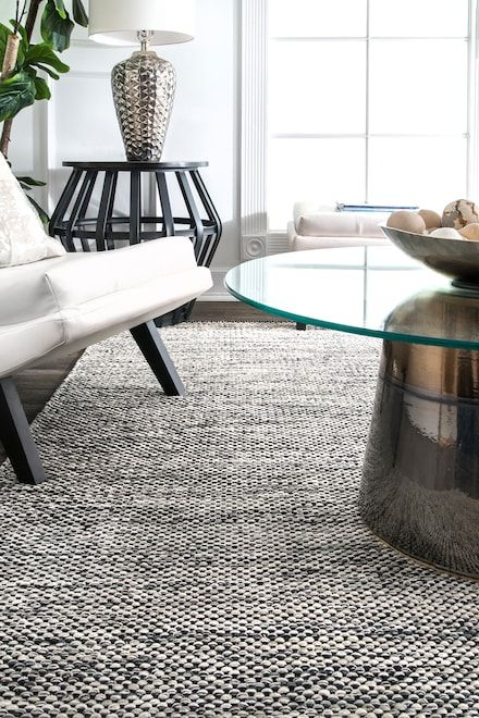 Nome Hand Woven Cotton Casual Solid Gray Rug Living Room Area Rugs White Area Rug Living Room Bedroom Area Rug Throw rugs for living room