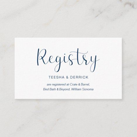 Wedding Registry Minimal Design Navy Blue Font Enclosure Card Zazzle Com In 2020 Wedding Registry Enclosure Cards Wedding Registry Cards