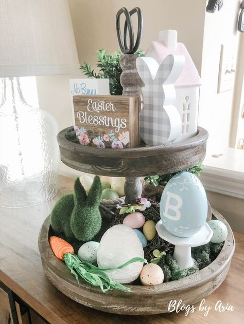 Easter Tiered Tray diy Easter decor decorating for Easter Patriotic Decorations, Diy Easter Decorations, Seasonal Decor, Tray Decor, Easter Arts And Crafts, Easter Projects, Easter Baskets, Decorating Ideas, Decor Ideas