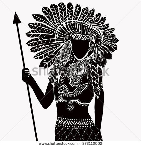 Young Woman In Costume Of American Indian Silhouette Of Beautiful
