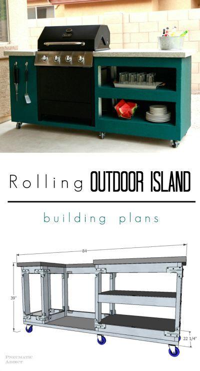 Rolling Outdoor Island Building Plans Outdoor Island Outdoor Grill Island Outdoor Kitchen