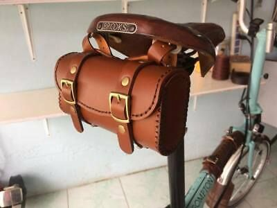 Leather Bicycle Saddle Bag Handmade For Brompton Brooks Vintage Brown Tan Ebay In 2020 Leather Bike Accessories Leather Bicycle Brompton Bag