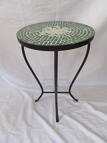 Green Mosaic Black Iron Outdoor Accent Table 21 H Furniture