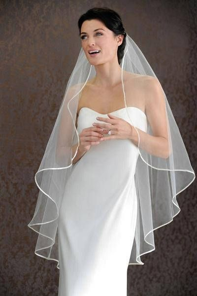3 M Width Satin Edge Bridal Veil *Cathedral Length*2 Tier//Drop veil