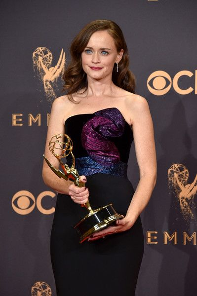 Actor Alexis Bledel of 'The Handmaid's Tale,' winner of the Outstanding Drama Series award, poses in the press room during the 69th Annual Primetime Emmy Awards.