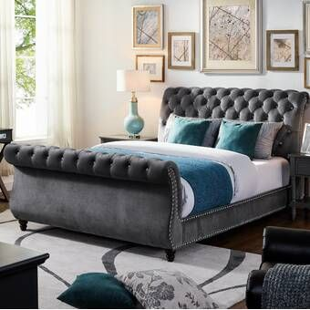 Matos Tufted Upholstered Sleigh Bed In 2020 Upholstered Sleigh
