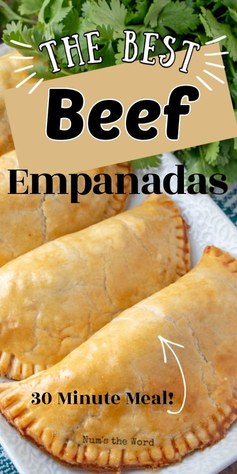 The BEST Beef Empanadas These Easy Beef Empanadas are delicious and use pre-made pie crust for their base. Packed full of great flavor and simple to toss together, they are a worthy Cinco de Mayo meal! Meat Recipes, Mexican Food Recipes, Dinner Recipes, Cooking Recipes, Recipies, Mexican Desserts, Freezer Recipes, Freezer Cooking, Drink Recipes