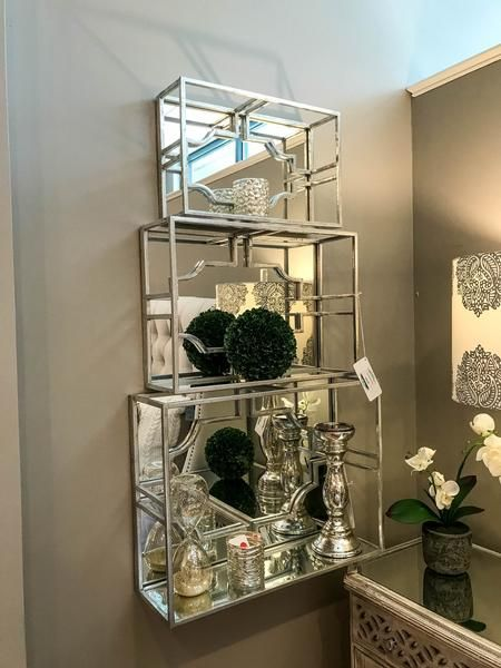 Remarkable Serafina Mirrored Shelf Set Of 3 In 2019 Favorites Home Remodeling Inspirations Gresiscottssportslandcom