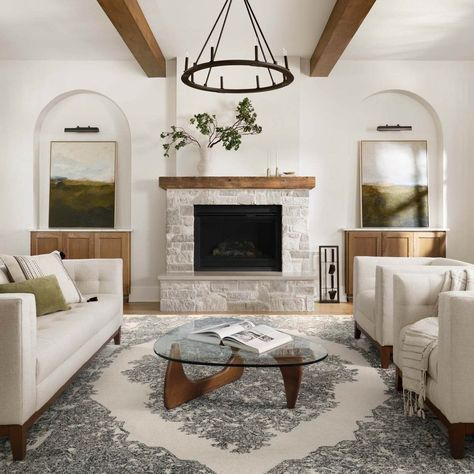Farmhouse Fireplace, Home Fireplace, Living Room With Fireplace, My Living Room, Home And Living, Fireplace Hearth Decor, Brick Fireplace Remodel, Stone Fireplace Makeover, White Brick Fireplaces