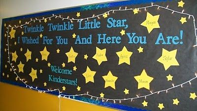 Back to School bulletin board idea: Twinkle Twinkle Little Star, I Wished For You And Here You Are!