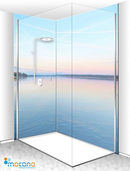 Sonnenaufgang Duschruckwand Fur Eckdusche Im Badezimmer Als Fliesenersatz In 2020 Eckduschen Duschruckwand Dusche