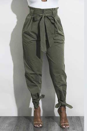 various colors new authentic professional website High Waisted Bow Tie Waist Cargo Pants Baggy Trousers in ...
