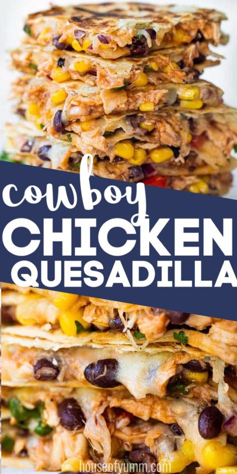 recipes Cowboy Chicken Quesadilla This Cowboy Quesadilla is loaded up with a BBQ Chicken, a black bean Texas caviar and lots of fresh off the block, melty cheese! Perfect for dinner time, this dish will please the whole family! Le Diner, Mexican Food Recipes, Recipes Dinner, Meal Ideas For Dinner, East Dinner Ideas, Yummy Healthy Dinner Recipes, Yummy Easy Dinners, Appetizers For Dinner, Easy Family Dinner Recipes