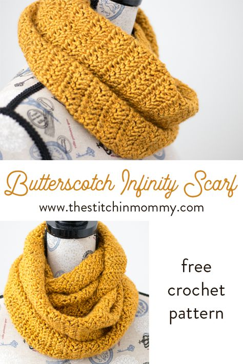 Butterscotch Infinity Scarf - Free Crochet Pattern Scarf of the Month Club hosted by The Stitchin Mommy and Oombawka Design Bonnet Crochet, Crochet Motifs, Crochet Beanie, Crochet Shawl, Crochet Stitches, Knit Crochet, Crochet Hooded Cowl, Chunky Crochet Scarf, Crocheted Scarf