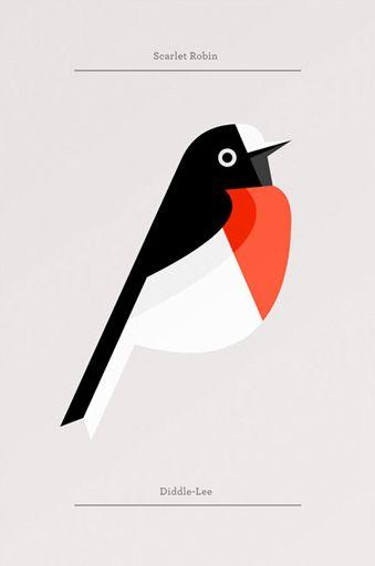 Designaside » Flora Fauna: Birds Edition.  Graphic Design. Poster. Robin. Birds.