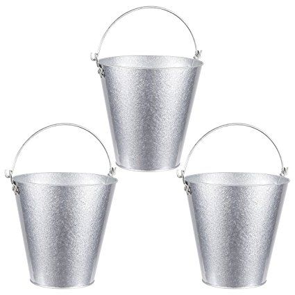 Set Of 3 Small Round Galvanized Buckets Buckets With Handle Iron Beer Buckets For Parties Metal Pails Silver 7 2 X 7 2 X 7 2 Inches Review Beer Bucket Pail Bucket Metal Pail