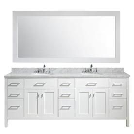 Design Element London 84 In White Double Sink Bathroom Vanity With