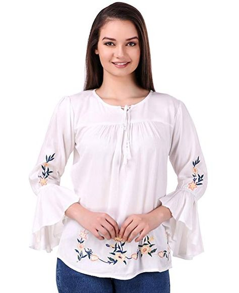 Elyraa Women's Embroidered Rayon Cotton Top for Dailywear Casual  Women/Girls Tops