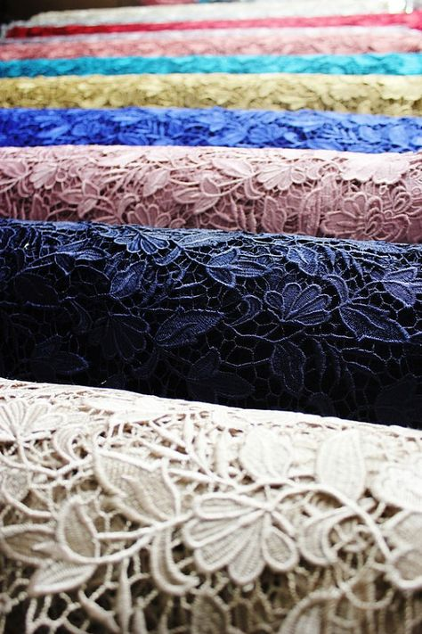 Our fancy embroidery guipure lace fabric available in 15 colors.  The item is 1 yards in Length and 51 inches width and the Material is