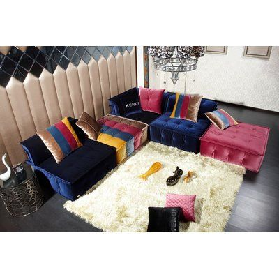Trule Okeefe 120 Wide Reversible Modular Seating Component With Ottoman Fabric Sectional Sofas Modular Sectional Sofa Sectional Sofa