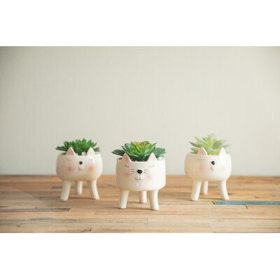 Ebern Designs Osblek Cute Cat Pot Planter Wayfair In 2020 Planter Pots Planters Pot Designs