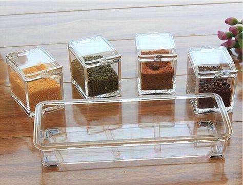 4 stuks hoge kwaliteit transparant acryl kruiden smaak recipiënten box specerij kruiden mason jar met lepels, rek keuken benodigdheden in 4 stuks hoge kwaliteit transparant acryl kruiden smaak recipiënten box specerij kruiden mason jar met lepels, rek keuken van Opslag Bottles & Kruiken op AliExpress.com | Alibaba Groep