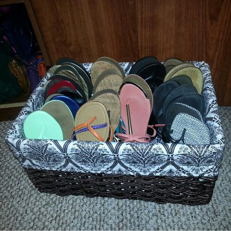 Thank you Pinterest for this idea..flip flops don't need to take up closet storage!!!