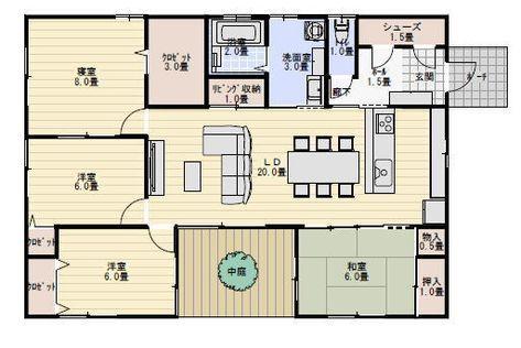 32坪4ldk中庭のある平屋の間取り 平屋間取り 間取り 32坪