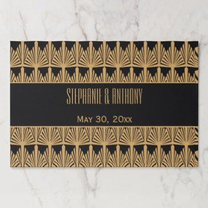 Gold And Black Art Deco Pattern Wedding Thank You Paper Placemat Gifts Customize Marriage Diy Unique Golden