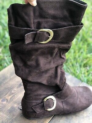 Ladies Pirate Boot Covers Brown Slouch Buckle Style Shoes Female Womens