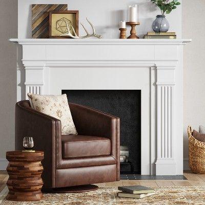 Berwick Barrel Swivel Chair Faux Leather Brown Threshold