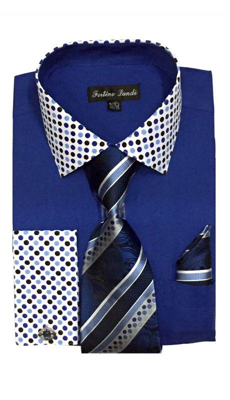 Men/'s Fashion French cuff Dress shirt with Tie /& Hanky  FL631