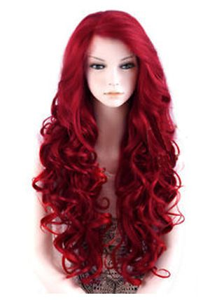 Large Cap Synthetic Lace Front Wigs 24 Red Long Wavy Large Cap Synthetic Lace Front Wigs Synthetic Wigs Wig Hairstyles Red Wigs