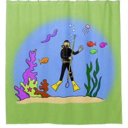 Scuba Diver And Fish Cartoon Shower Curtain Shower Curtain Home