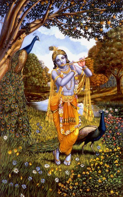 Krishna Is Playing The Flute Standing In Nature And Flowers With Peacocks Vedic Art Lord Krishna Wallpapers Krishna Radha Painting