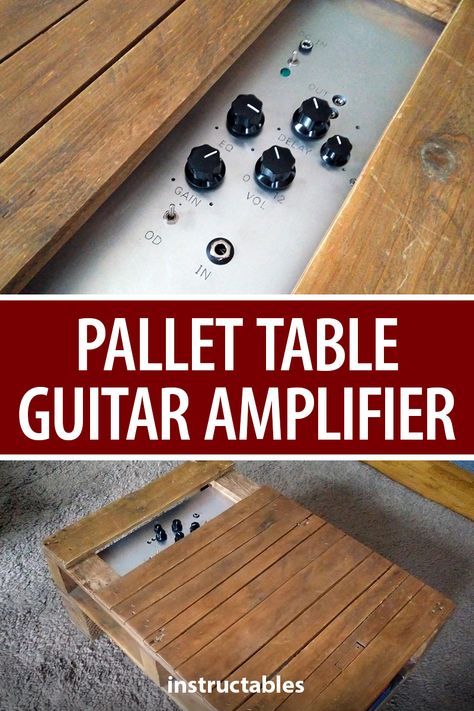 Make your pallet coffee table have a dual purpose by adding a guitar amplifier to it.  #Instructables #electronics #technology #audio #furniture