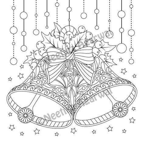 christmas bells  adult coloring page  christmas coloring page  printable coloring page