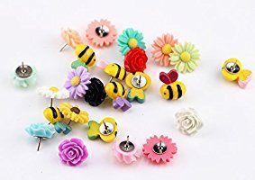 Decorative Thumbtacks 24 Pieces Colorful Floret Bees Push Pins Wall Whiteboard