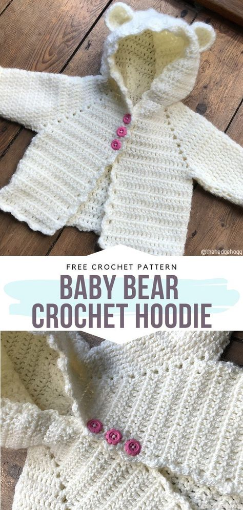 Baby Bear Crochet Hoodie Free Pattern Everything is better with ears when it comes to clothes and accessories for stylish young people (of all ages), right? Especially hoodies and crochet cardigans! Try using multicolor yarn for this one or go for a classy single-color option with contrasting buttons. #crochetcardigan #crochetbabycardigan #crochethoodie #freecrochetpattern