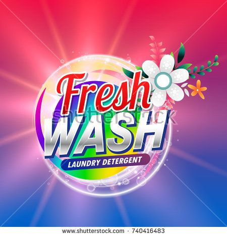 Fresh Laundry Detergent Or Soap Cleaning Product Packaging With