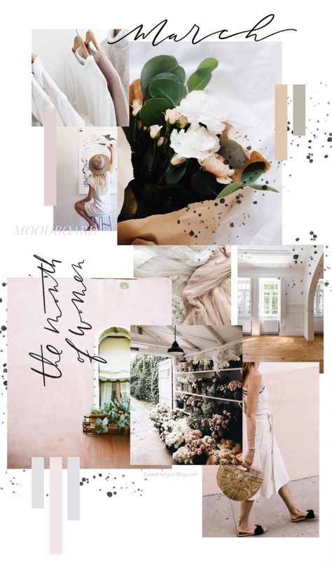 March 2018 Moodboard Sweet Horizon Studio Blog | Brandboard | Handlettering | Calligraphy | Handwriting | Blush Tones | Blush and Grey | Color Scheme | Color Palette | Feminine Colors | Feminine Moodboard |