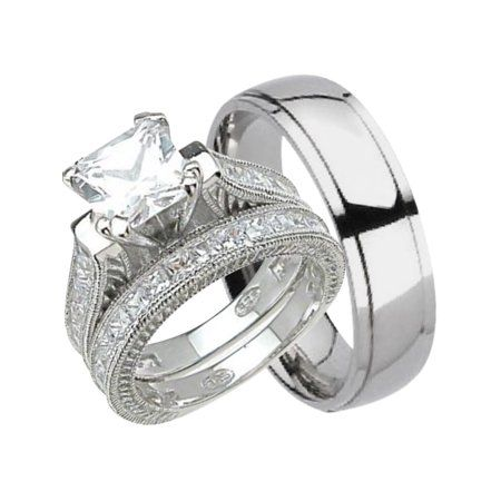 Laraso Co His And Hers Wedding Ring Set Matching Trio Wedding Bands For Him Titanium And Her Sterling Silver 6 9 Walmart Com In 2020 Wedding Ring Sets His And
