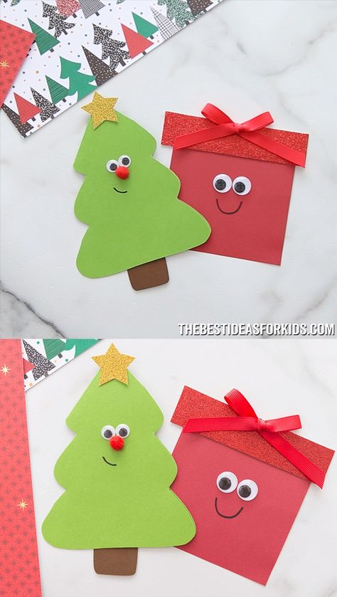 CHRISTMAS TREE & PRESENT CARD 🎄🎁- so cute! Such a cute Christmas card idea. An easy Christmas card for kids to make.