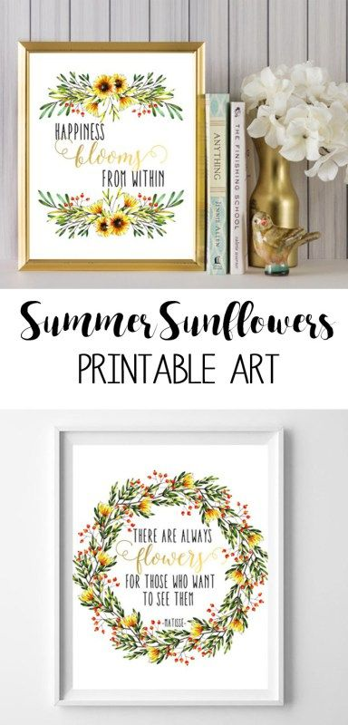 Wall Art Ideas Inspired By Fixer Upper Sunflower Printable