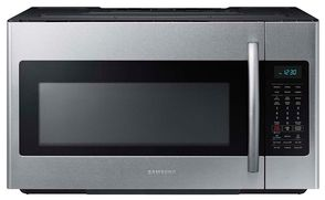 Samsung Stainless Steel 1 8 Cu Ft 400 Cfm Over The Range Microwave Me18h704sfs Trail Appliances Samsung Microwave Stainless Steel Microwave Range Microwave