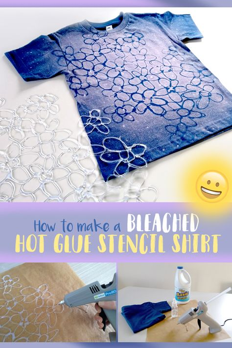 Batik-Style T-Shirt Using a Hot Glue Stencil and Bleach Spray - Hot Glue + Bleach = Super Cute Wearables! Something about t-shirt projects remind me of spring. Tie Dye Crafts, Glue Gun Crafts, Crafts To Do, Crafts For Kids, Diy Tie Dye Shirts, Bleach Shirts, Diy Shirt, Diy Kids Shirts, Tee Shirt Crafts