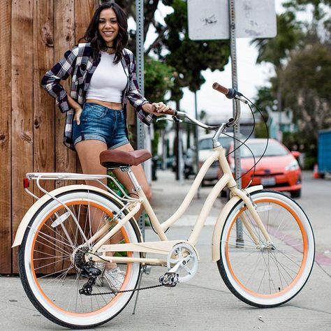 Women Bike EVRYjourney Hybrid Cruiser Bicycle 26 Inch 7 Speed Cycling Sports Manufacturer - Sixthreezero Enterprises, L. Cool Bicycles, Vintage Bicycles, Cool Bikes, Bicycle Women, Road Bike Women, Women Motorcycle, Motorcycle Bike, Bicycle Helmet, Subaru