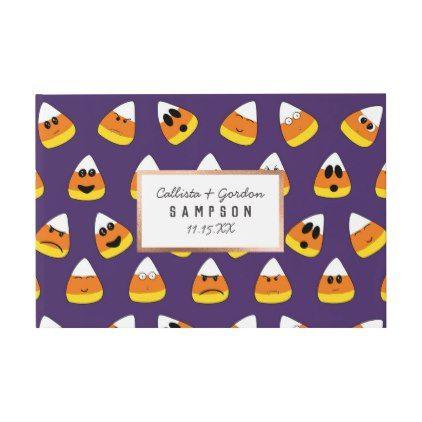 Cute Orange Purple Halloween Emoji Candy Corn Guest Book Zazzle Com Purple Halloween Halloween Emoji Candy Corn